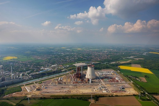 Stock Photo: 1848-443936 Aerial photo, coal power plant, building freeze, EON Kraftwerk Datteln 4 power station, cooling tower, Datteln, Ruhrgebiet region, North Rhine_Westphalia, Germany, Europe