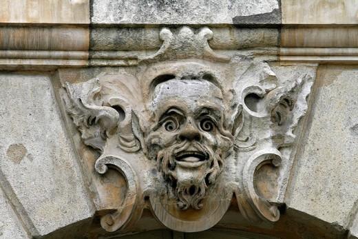 Gargoyle, window detail, Place de la Bourse, Bordeaux City, Aquitaine, France, Europe : Stock Photo