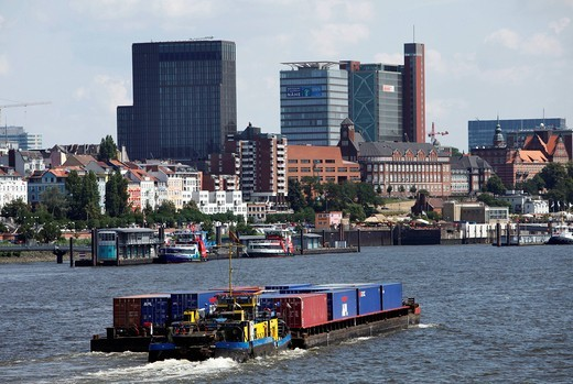 Stock Photo: 1848-444126 Container ships in the harbor of Hamburg, Germany, Europe