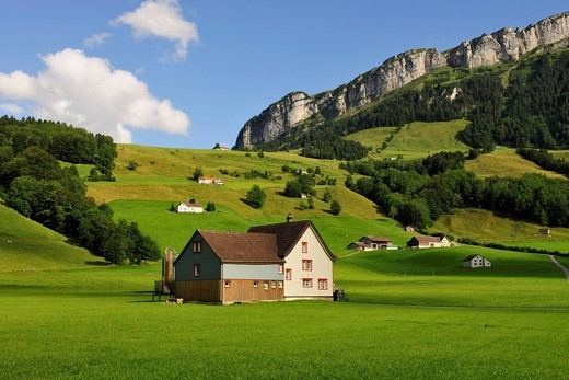 Stock Photo: 1848-444235 Farm house in the canton of Appenzell, Alpstein Mountains in the back, Canton Appenzell, Switzerland, Europe