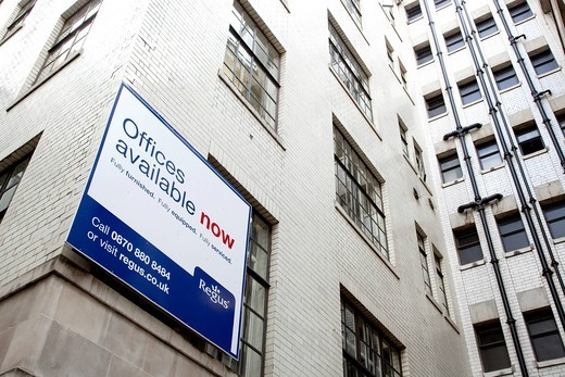 Stock Photo: 1848-444346 Sign, offices to let, offices for sale, in the financial district in London, England, United Kingdom, Europe