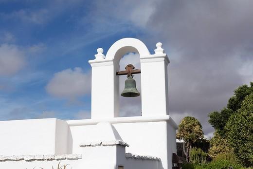 Bell, Fundación César Manrique, Manrique´s former residence in Teguise, Lanzarote, Canary Islands, Spain, Europe : Stock Photo