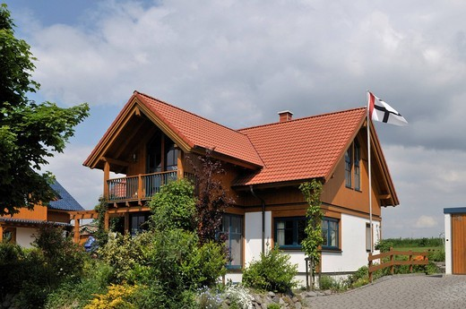 New building with with wooden elements, low energy house, Grafschaft, Rheinland_Palantine, Germany : Stock Photo