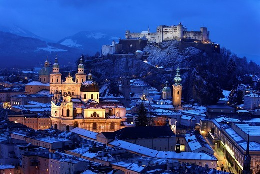 Stock Photo: 1848-444767 Old town with the Kollegienkirche church, the cathedral and Festung Hohensalzburg fortress, in the evening, winter, Salzburg, Austria, Europe