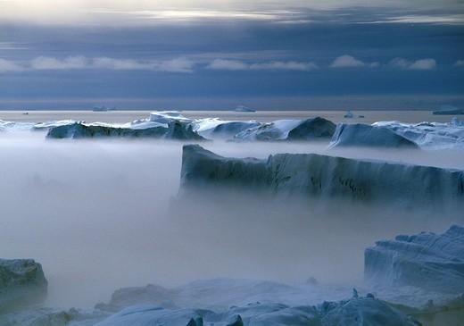Kangia Ice Fjord from Sermermiut, Ilulissat, Jabobshavn, Greenland : Stock Photo