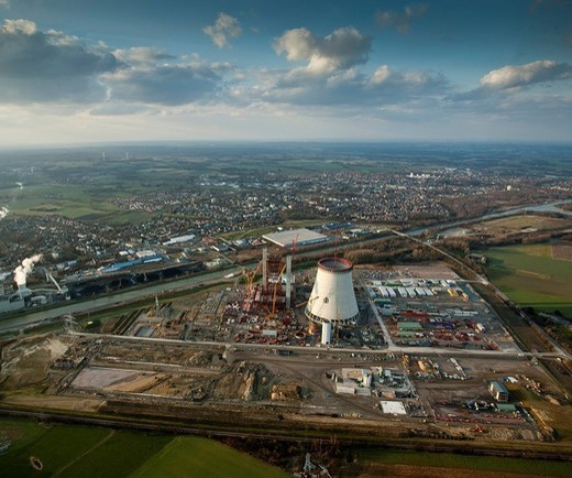 Aerial photo, coal power plant, building freeze, EON Kraftwerk Datteln 4 power station, cooling tower, Datteln, Ruhrgebiet region, North Rhine_Westphalia, Germany, Europe : Stock Photo