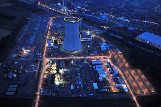 Stock Photo: 1848-445527 Aerial photo, coal power plant, building freeze, EON Kraftwerk Datteln 4 power station, cooling tower, Emscher_Lippe, Datteln, Ruhrgebiet region, North Rhine_Westphalia, Germany, Europe
