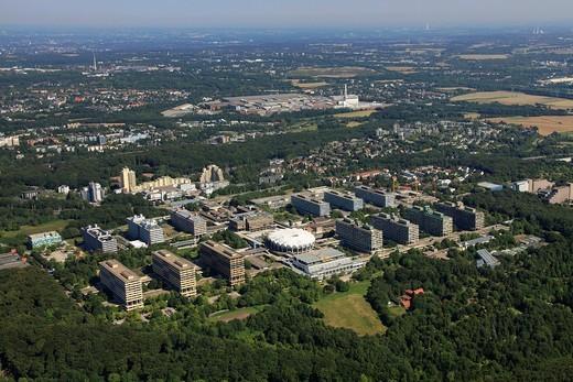 Aerial photo, RUB Ruhruniversitaet university of Bochum, Stiepel, Bochum, Ruhrgebiet region, North Rhine_Westphalia, Germany, Europe : Stock Photo
