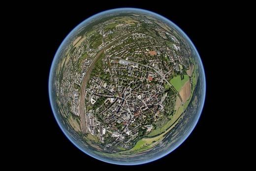 Stock Photo: 1848-445567 Aerial view, fisheye, Schwerte, Ruhrgebiet region, North Rhine_Westphalia, Germany, Europe