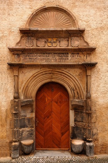 Decorative entry portal, 1557, Domstr. 8, Merseburg, Saxony_Anhalt, Germany, Europe : Stock Photo