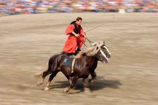Stock Photo: 1848-445732 Horse_rider, Hungarian Post, demonstration at the Marbach Hengstparade, stallion parade, Swabian Alb, Baden_Wuerttemberg, Germany, Europe