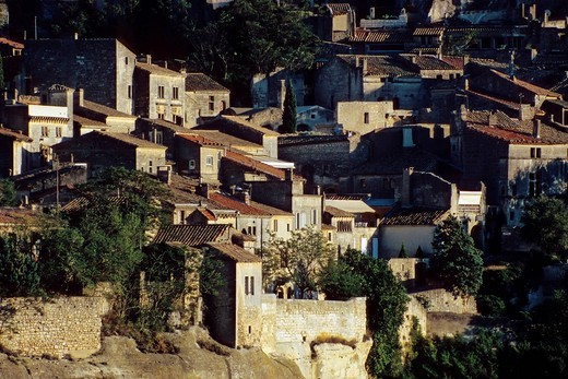 Stock Photo: 1848-445783 Historic city of Les Baux de Provence, with castle ruins in the evening light, on a rocky outcrop on a plateau on the southern edge of the Alpilles, Alpilles, Provence, southern France, France, Europe