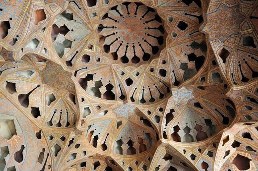 Famous acoustic ceiling in the music room, Ali Qapu palace, Meidan_e Emam, Naqsh_e Jahan, Imam Square, UNESCO World Heritage Site, Esfahan, Isfahan, Iran, Persia, Asia : Stock Photo
