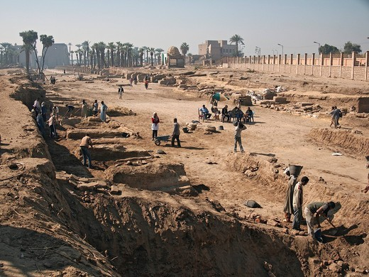Excavation field at the Temple of Luxor, Egypt, Africa : Stock Photo