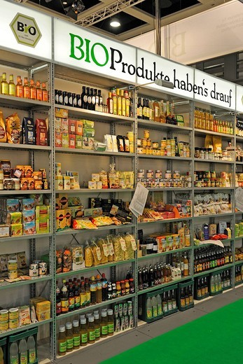 Shelf with various organic products at the Gruene Woche, Green Week trade fair 2010 in Berlin, Germany, Europe : Stock Photo