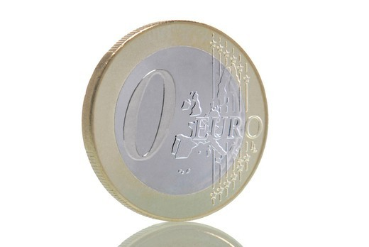 Zero euro coin : Stock Photo