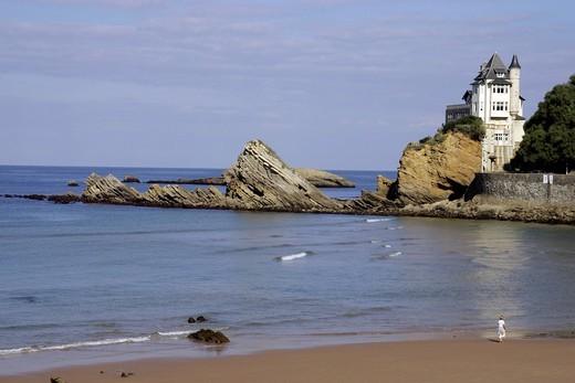 Stock Photo: 1848-447247 Beach, chateau, promenader, Biarritz, Pyrénées_Atlantiques, Atlantic Coast, Aquitaine, France, Europe