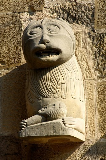 Stock Photo: 1848-44733 Lion sculpture at the Loewentoerle, lion entrance, Collegiate Church of St. Peter und Paul, Oehringen, Baden_Wuerttemberg, Germany, Europe