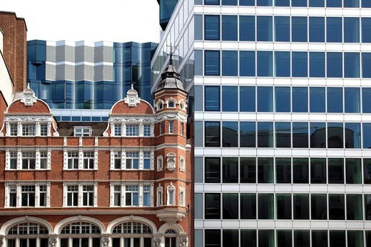 Victorian_style brick building and modern architecture in London, England, United Kingdom, Europe : Stock Photo