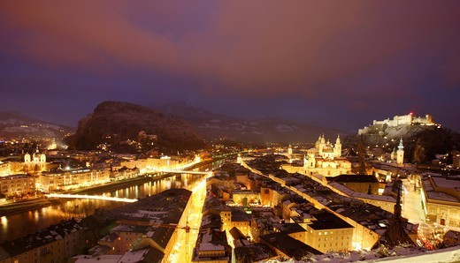 Old town with the Kollegienkirche church, the cathedral and Festung Hohensalzburg fortress, at night, winter, Salzburg, Austria, Europe : Stock Photo