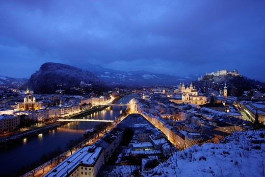 Old town with the Kollegienkirche church, the cathedral and Festung Hohensalzburg fortress, in the evening, winter, Salzburg, Austria, Europe : Stock Photo