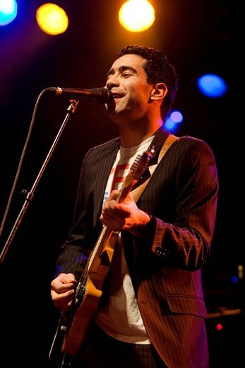 Noah Veraguth, singer and frontman of the Swiss band Pegasus, live in the Schueuer, Lucerne, Switzerland : Stock Photo