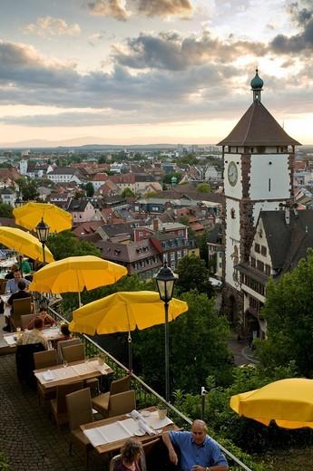 Stock Photo: 1848-448207 Restaurant with Martinstor gate, Freiburg, Baden_Wuerttemberg, Germany, Europe