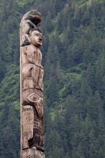 Totem pole, Juneau, Southeast Alaska : Stock Photo