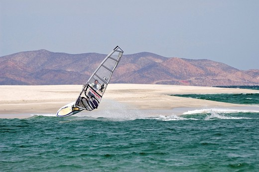 Sailboarder in Los Barilles, Baja California Sur, Baja California, Mexico, Central America : Stock Photo