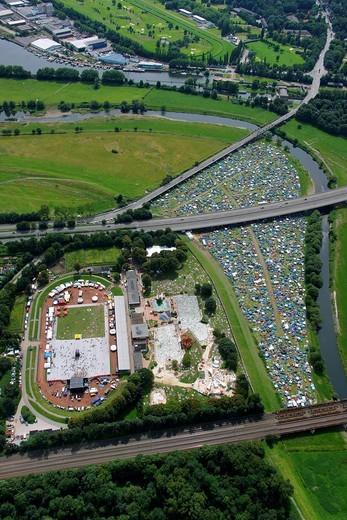 Stock Photo: 1848-448704 Aerial view, Naturbad Styrum natural pool with reggae festival, campground, Styrum, Muelheim an der Ruhr, Ruhrgebiet region, North Rhine_Westphalia, Germany, Europe