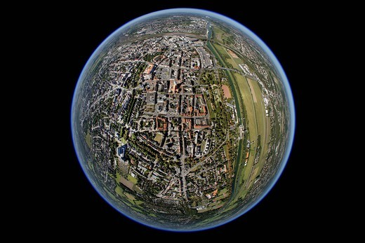 Aerial view, fisheye, Hamm, Ruhrgebiet region, North Rhine_Westphalia, Germany, Europe : Stock Photo