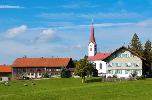 Small hamlet in Oberstaufen, Allgaeu, Bavaria, Germany, Europe : Stock Photo