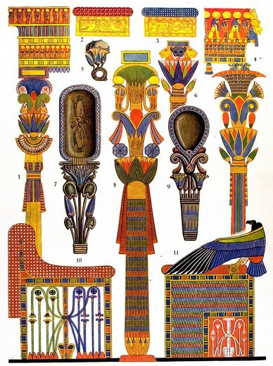 Historic illustration, Egyptian ornaments, wood ornaments, Griffith, Archaeological Survey of Egypt. Bd. 18. : Stock Photo