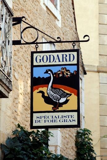 Goose, sign, foies gras pate shop, Sarlat, Aquitaine, Dordogne, France, Europe : Stock Photo