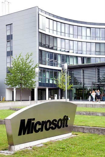 Headquarters of Microsoft company for Germany and Europe, in Unterschleissheim near near Munich, Bavaria, Germany, Europe : Stock Photo