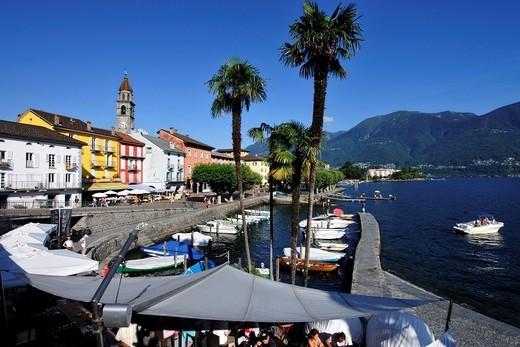 Ascona on Lago Maggiore, Lake Maggiore, Canton of Ticino, Switzerland, Europe : Stock Photo