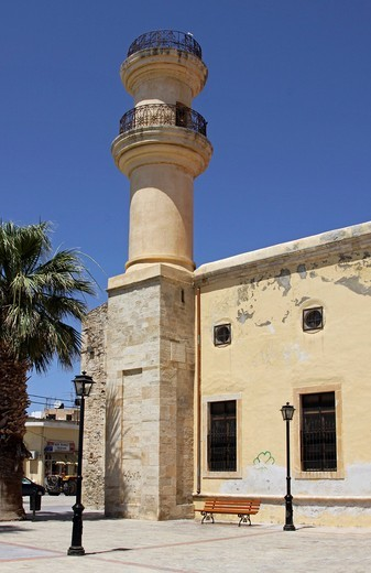 Minaret, town centre, Ierapetra, Crete, Greece, Europe : Stock Photo