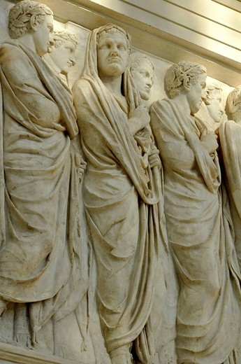 Relief frieze procession, ruling family, senators, peace altar Ara Pacis Augustae, north side, Rome, Lazio, Italy, Europe : Stock Photo