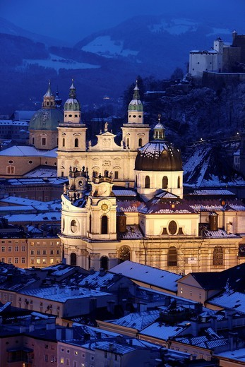 Stock Photo: 1848-449589 Old town with the Kollegienkirche church, the cathedral and Festung Hohensalzburg fortress, in the evening, winter, Salzburg, Austria, Europe