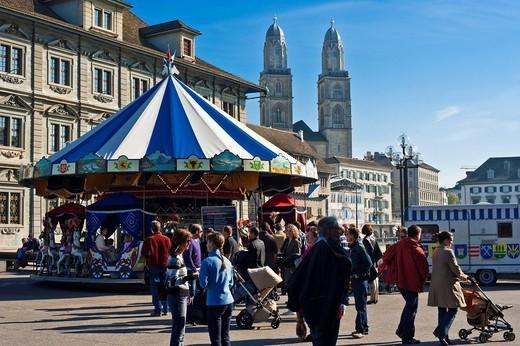 Stock Photo: 1848-449616 Town hall bridge, Grossmuenster, historic town, Zurich, Switzerland, Europe