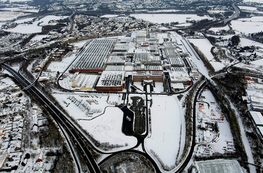 Aerial view, snow, inner_city highway, Zafirawerk plant, Astrawerk factory, Opel GM General Motors Werk I plant, Bochum, Ruhrgebiet region, North Rhine_Westphalia, Germany, Europe : Stock Photo