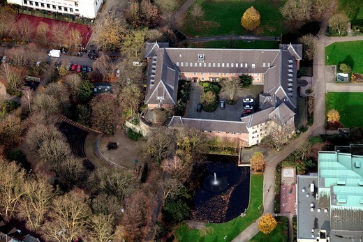 Aerial view, city hall, Dinslaken, Ruhrgebiet region, North Rhine_Westphalia, Germany, Europe : Stock Photo