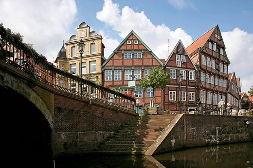 Stock Photo: 1848-44983 Half_timbered houses on Hansehafen harbour, Stade, Lower Saxony, Germany, Europe