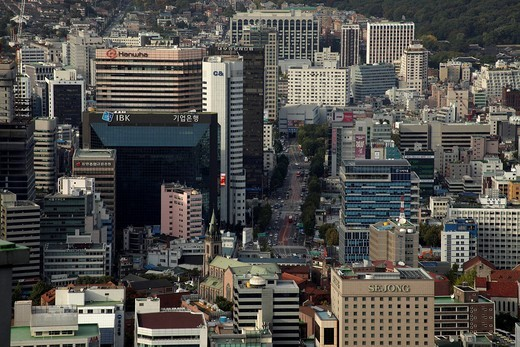 High_rise buildings in Seoul seen from Namsan mountain, South Korea, Asia : Stock Photo