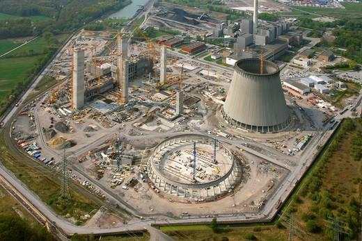 Aerial photo, Kraftwerk Westfalen power plant, power plant construction, coal power plant, RWE_Power, Datteln_Hamm_Kanal canal, Uentrop, Hamm, Ruhrgebiet region, North Rhine_Westphalia, Germany, Europe : Stock Photo