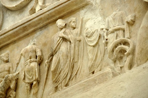 Relief frieze of a sacrificial procession, altar crown, Altar of Augustan Peace, Ara Pacis Augustae, Rome, Lazio, Italy, Europe : Stock Photo