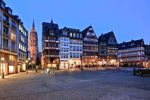 Stock Photo: 1848-450972 Roemerberg square in the evening, in the back the Kaiserdom St. Bartholomaeus cathedral, Roemerberg square, Frankfurt, Hesse, Germany, Europe