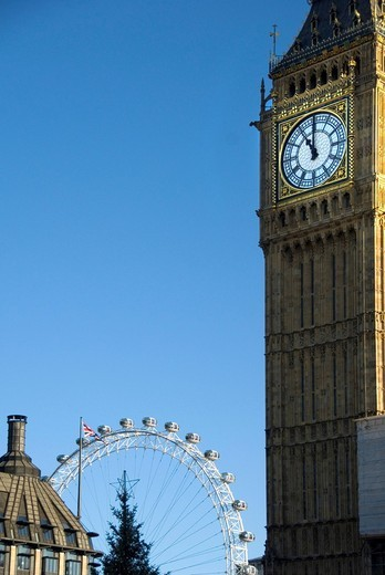 Big Ben and the London Eye, Millennium Wheel, Ferris wheel, Clock Tower, Houses of Parliament, London, England, United Kingdom, Europe : Stock Photo