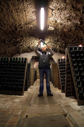 Cellarer in a vault cellar shaking and controlling the champagne quality during the bottle fermentation process, Kessler Champagne Winery, Esslingen, Baden_Wuerttemberg, Germany, Europe : Stock Photo