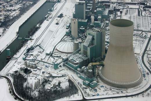 Stock Photo: 1848-451271 Aerial photo, cooling towers, construction site, Walsum Steal EVONIK STEAG coal power station, Snow, Duisburg, Rhein, North Rhine_Westphalia, Ruhr, Germany, Europe